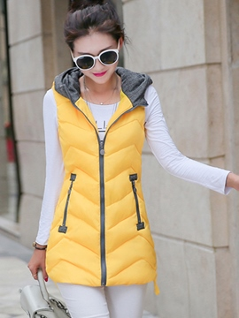 Ericdress Color Block Sleeveless Jacket