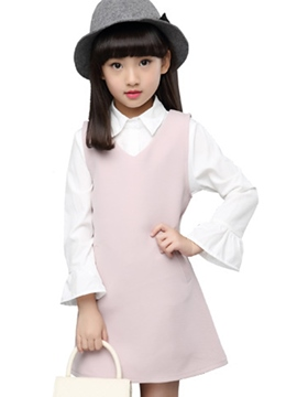 Ericdress Pointed Collar Vest Long Flare Sleeve Two-Piece Girls Outfit