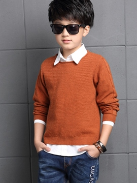 Ericdress Shirt Collar Knitting Pattern Boys Top