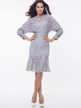 Ericdress Solid Color Batwing Sleeve Casual Dress