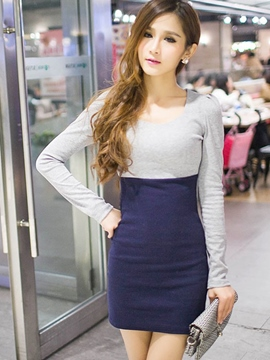 Ericdress Color Block Long Sleeve High-Waist Bodycon Dress