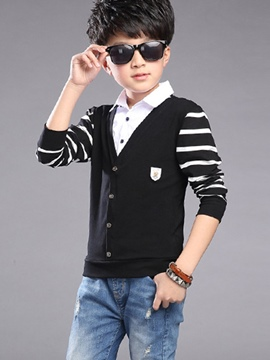 Ericdress Strips Patch Knitting Cardigan Boys Outerwear