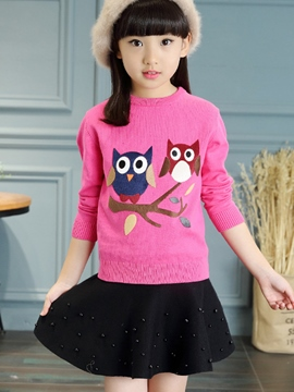 Ericdress Animal Fabric Patchwork Knitting Tee Girls Top
