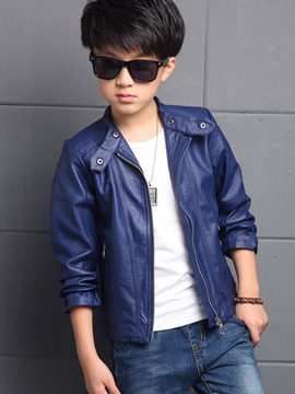 Ericdress Leather Neck Loop Stand Collar Boys Outerwear