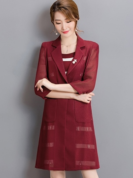 Ericdress Fashion Simple Stripe Dress Suit