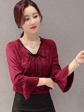 Ericdress Tie Bow Front Flare Sleeve Blouse