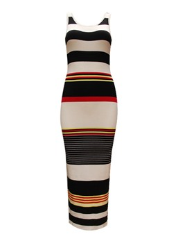 Ericdress Stripe Sleeveless Round Neck Sweater Dress