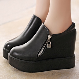 Ericdress PU Round Toe Side Zipper Wedge Ankle Boots