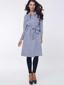 Ericdress Solid Color with Belt Coat