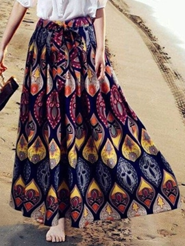 Ericdress Beach Print Maxi Skirt
