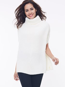 Ericdress Plain Loose Turtleneck Batwing Knitwear