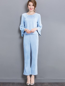 Ericdress Sweet Flare Sleeve T-Shirt Suit