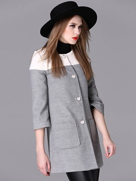 Ericdress Single-Breasted Color Block Coat