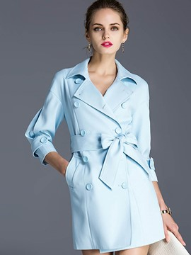 Ericdress Double-Breasted Bowknot Belt Slim Trench Coat
