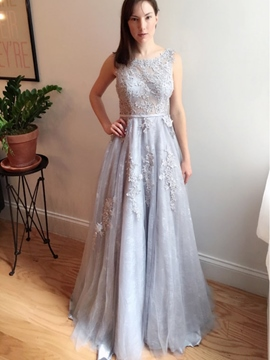 Ericdress A-Line Round Neck Appliques Sashes Sweep Train Evening Dress