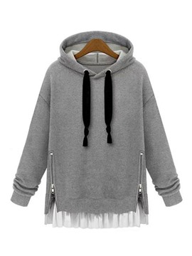 Ericdress Color Block Lace-Up Patchwork Hoodie