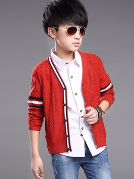 Ericdress Strip Patchwork Knitting Weave Cardigan Boys Top