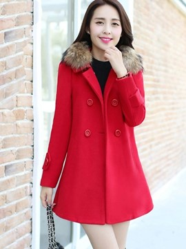 Ericdress Color Block A-Line Coat