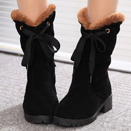 Ericdress Lovely Lace-Up Square Heel Snow Boots