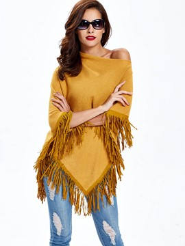 Sisjuly Tassel Flexible Pullover Caped Knitwear