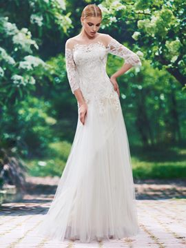 Ericdress Charming Illusion Neckline Sheath Wedding Dress