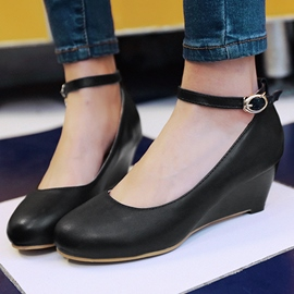 Ericdress PU Round Toe Ankle Strap Wedges