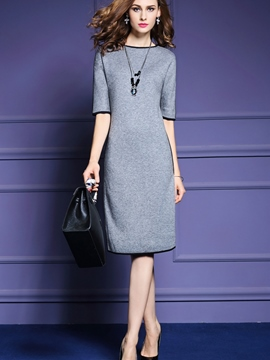 Ericdress Plain Half Sleeve Straight Sweater Dress