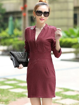 Ericdress Stripe V-Neck Long Sleeve Patchwork Bodycon Dress