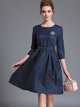 Ericdress Polka Dots Round Neck Three-Quarter Sleeve Casual Dress