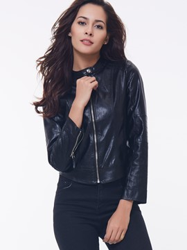 Ericdress Black Zipper Motorcycle PU Jacket