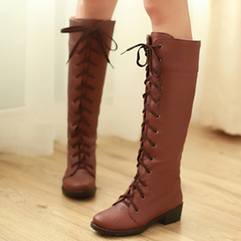 Ericdress Fashion Lace up Knee High Boots