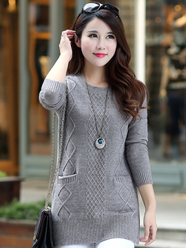Ericdress Solid Color Thread Crochet Knitwear