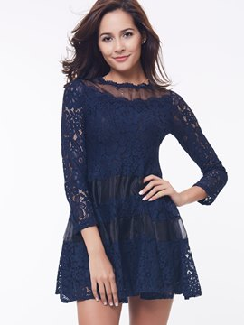 Ericdress Mesh Patchwork Long Sleeve A-Line Lace Dress
