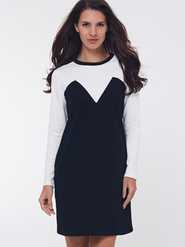 Ericdress Color Block Round Neck Bodycon Dress