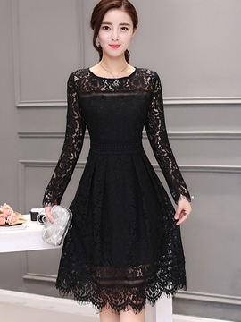 Ericdress Solid Color Pleated Round Neck Lace Dress