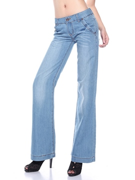 Ericdress Simple Wide Legs Jeans
