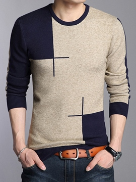 Ericdress Vogue Color Block Pullover Men's Sweater
