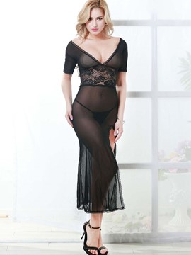 Ericdress Length Mesh Sheer Sexy Slit Babydoll