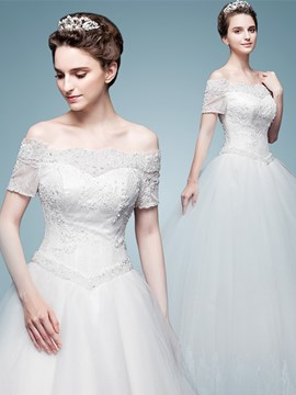 Ericdress Beautiful Off The Shoulder Short Sleeves Ball Gown Wedding Dress