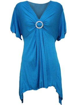 Ericdress Sequins Ring Pleated V-Neck T-Shirt