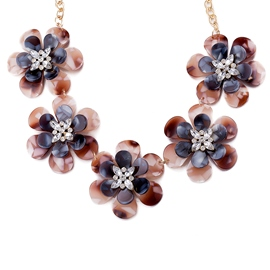 Ericdress Grey Plastic Flower Pendant Necklace