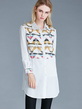 Ericdress Loose Geometric Printed Blouse