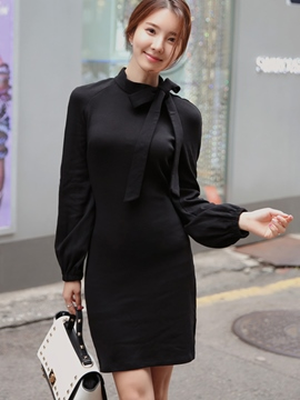 Ericdress Plain Bowknot Long Sleeve Bodycon Dress