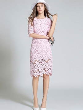 Ericdress Plain Round Neck Half Sleeve Lace Dress