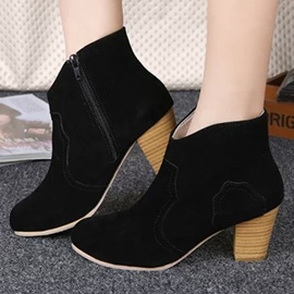 Ericdress Suede Side Zipper Chunky Heel Ankle Boots