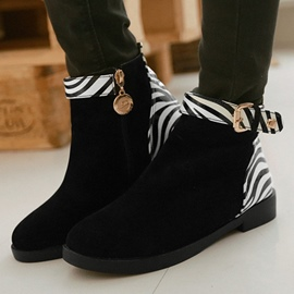 Ericdress Zebra Patchwork Ankle Boots