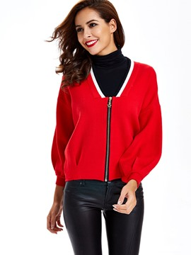Sisjuly V Neck Zipper Cardigan Crop Knitwear