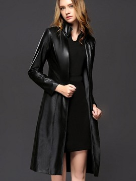 Ericdress Black Zipper A Line Slim Leather Thench Coat