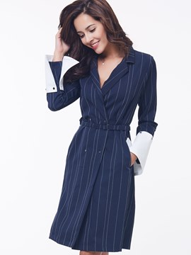 Ericdress Stripe Notched Lapel Patchwork Casual Dress