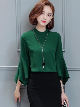 Ericdress Solid Color Casual Trumpet Blouse